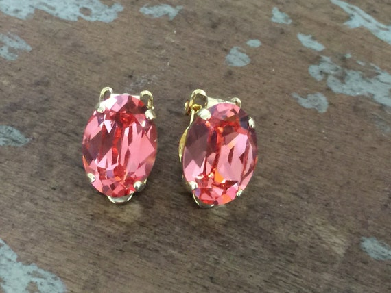 Oval Rose Peach Swarovski Crystal Clip On Earrings, Yellow Gold