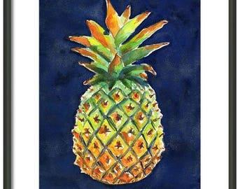Pineapple Painting, Hand painted ORIGINAL Watercolor, 8x10, Kitchen Fruit Art, Pineapple decor, Hawaiian, Welcome wall art, Tropical fruit