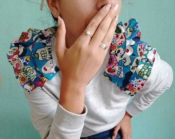 "Frilled sweatshirt ""Love Drops"" Talla M. Mexican Skulls"