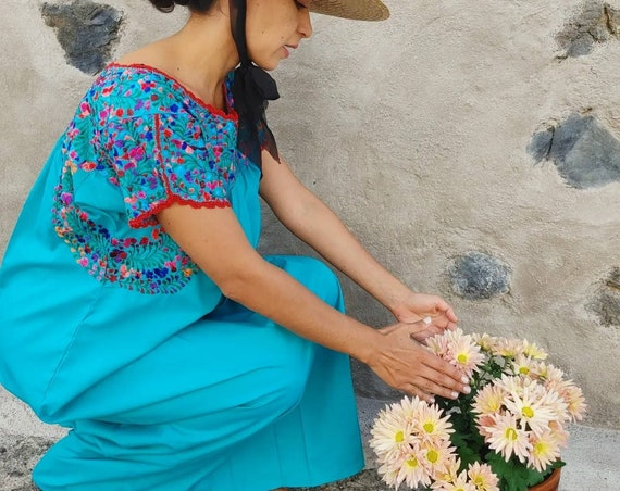 Mexican hand embroidered dress *SAN ANTONINO*turquoise /multicolored, Size S-M, maternity, holiday dress,beach wedding,bohohemian-chic dress