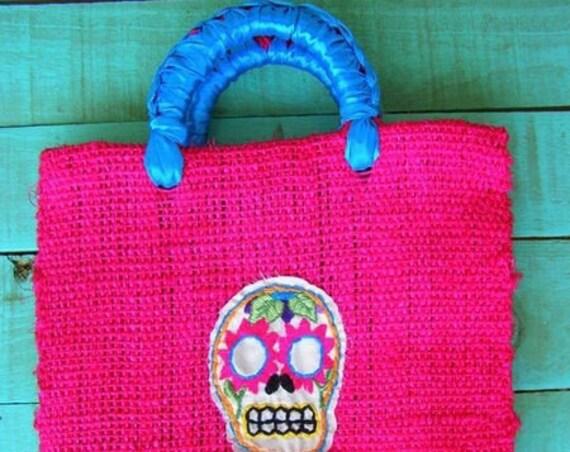 shopping bag embroidered *SUGAR SKULL* bolso de playa, bolso compras calavera mexicana dia de muertos bordado a mano, bolso ecologico compra