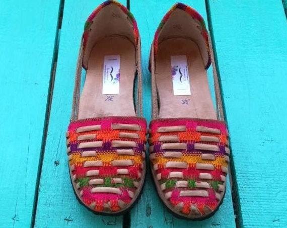 Vintage leather *SANDALS* ethno folk Mexico