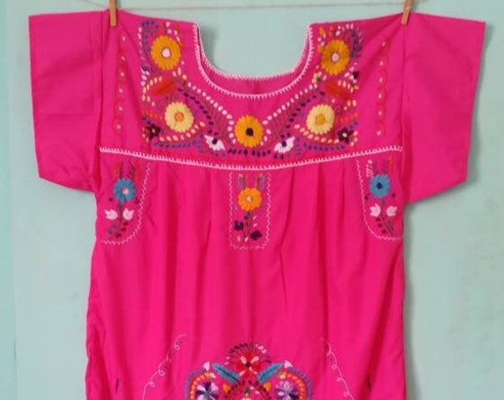 Mexican dress * CHILAC * ROSA , size XL, hand embroidery, vintage Mexican dress, bohemian style, ethnic clothing, spring summer, mom gift