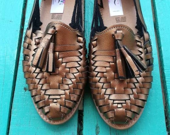 Vintage leather *SANDALS* ethno folk Mexico