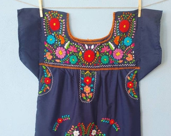 Mexican dress * CHILAC * green, size S-M, hand embroidery, bohemian style, vintage Mexican dress, spring-summer, flower beach dress