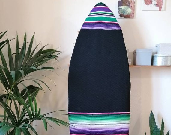SURFBOARD SOCK * Zicatela * Surfboard bag, Upcylced Mexican blanket, for 5'5 to 6'2, Shortboard Fish bag, Surfboard sock, mexican striped