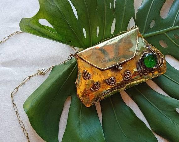 Jewel bag * SAN MIGUEL * clutch for party, handmade, vintage style wallet, brass, chain shoulder bag, wedding clutch, retro 70's bag,wedding