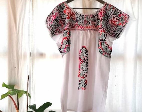 Hand Embroidered Mexican Dress * SAN ANTONINO * Maternity Dress, Summer Mexican Dress, Boho Style Dress, Premama Dress