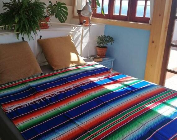 mexican blanket,mexican fabric, yoga blanket, beach blanket  *SARAPE MEXICANO* manta mejicana, tela mexicana hecha a mano,cubre cama, picnic