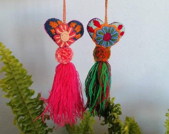 Couple of mexican hearts * HEART CHARM * felt hearts, embroidered heart, heart pom pom, heart tassel, beach bag charm,door handle decoration
