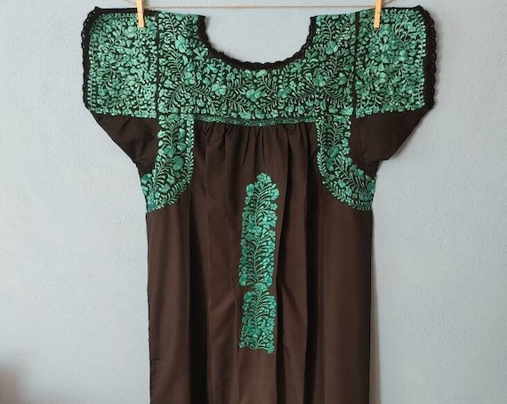 Mexican hand embroidered dress * SAN ANTONINO * black / turquoise, Size M, pre-breast, holiday dress, beach wedding, bohohemian-chic dress