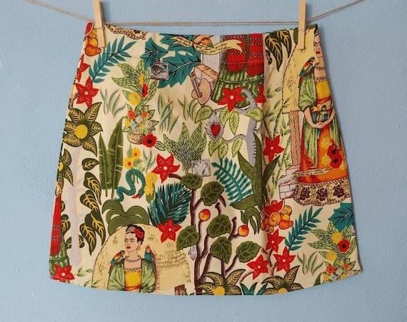 rock a billy *FRIDA KAHLO*, mini skirt Frida print, Frida fabric, falda frida kahlo, falda corta, tela de frida negra con monos, mini falda
