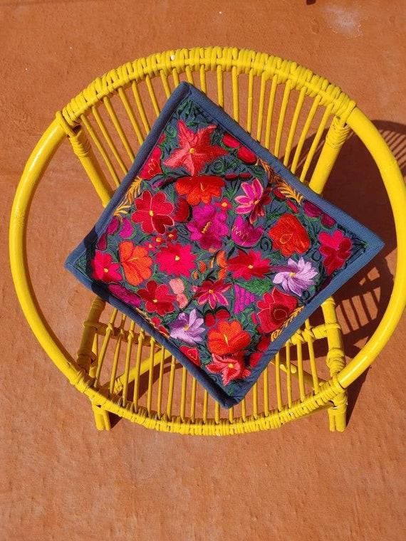 cushion cover grey *SAN CRISTOBAL* decorative, bohemian style, embroidered flowers, handmade cushion, Mexican decoration, Mexican cushion