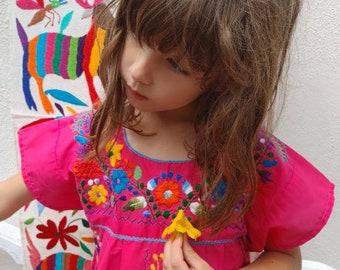Mexican girl dress * CHILAC * pink dress, size 8 dress, embroidered girl dress, summer girl dress, flower girl dress, handmade
