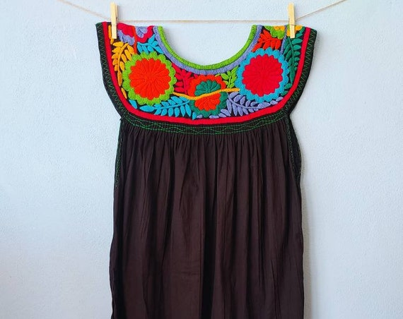 black dress / tunic *CHIAPAS *, one size, embroidered bib, bohemian style, vintage tunic, ethnic fashion, mexican beach dress