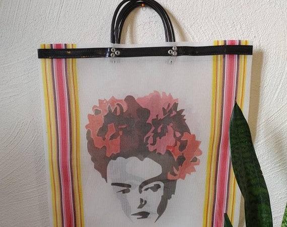 market bag *FRIDA *, shopping bag, reusable bag, mesh bag, beach bag, Mexican tote bag, Frida Kahlo tote bag, mexican market bag