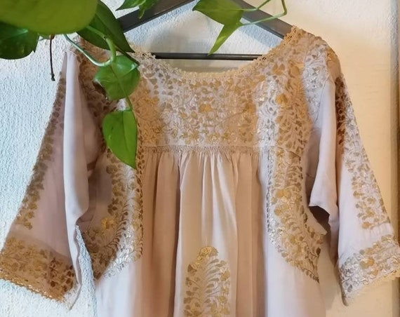 Mexican dress * SAN ANTONINO * white multi-colored floral embroidery T. S-XL