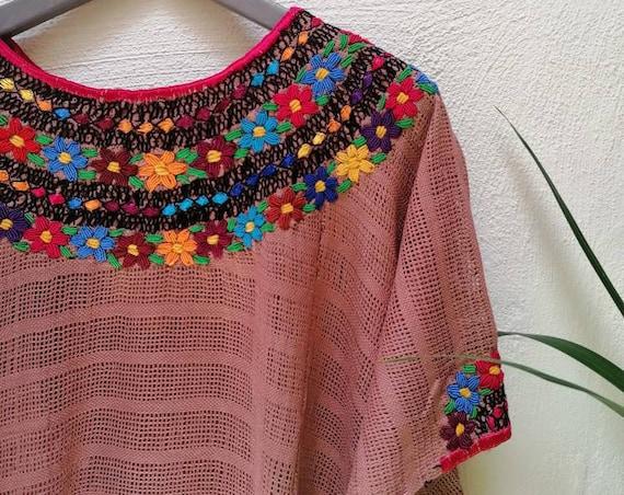 Poncho, Huipil * COBANERO ROCOCO * powder pink, beach kaftan, one size, beach sarong, summer poncho, hand embroidery, bohemian style