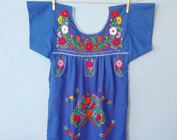 Mexican girl dress * CHILAC * Navie Blue dress size 12 years/XS, hand embroidered dress, summer girl dress, vintage dress, flower dress