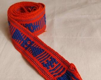 Belt * JALIEZA * blue / white, loom fabric, bohemian style, cotton, woven boho tie, vintage waistband, Braided bow, Mexican fabric