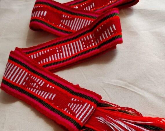 Belt * JALIEZA * multicolor, loom fabric, bohemian style, cotton, woven boho tie, vintage waistband, Braided bow, Mexican fabric
