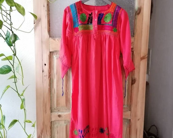Mexican boho dress *ROCOCO* French sleeve buttoned shirt, size S-M, coral