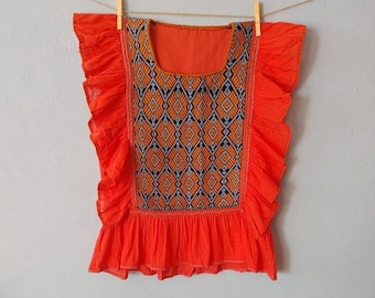 Handmade tunic blouse * SAN ANDRÉS * ivory, size M-L, ruffled sleeve, handmade, cotton, bohemian style, vintage Mexican blouse,