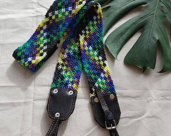 Vintage-boho leather macrame camera strap *CORREA CÁMARA*correa de cuero y macrame para cámara, bandolera guitarra  bolso, accesorio photo