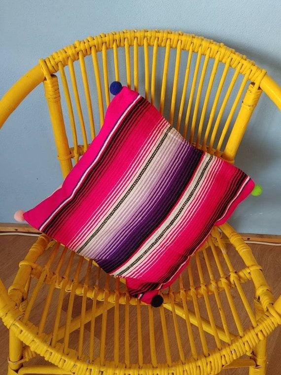 Mexican blanket pillow *SARAPE CUSHION* decorative pillow cover, funda decorativa de cojines, tela de sarape, almohada de sarape, funda boho