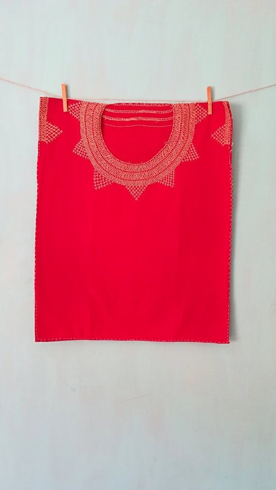 Mexican blouse * HUIPIL AZTECA *, organic cotton top, ethnic embroidery, handmade, ethnic clothing, bohemian style, sizes S, M, L