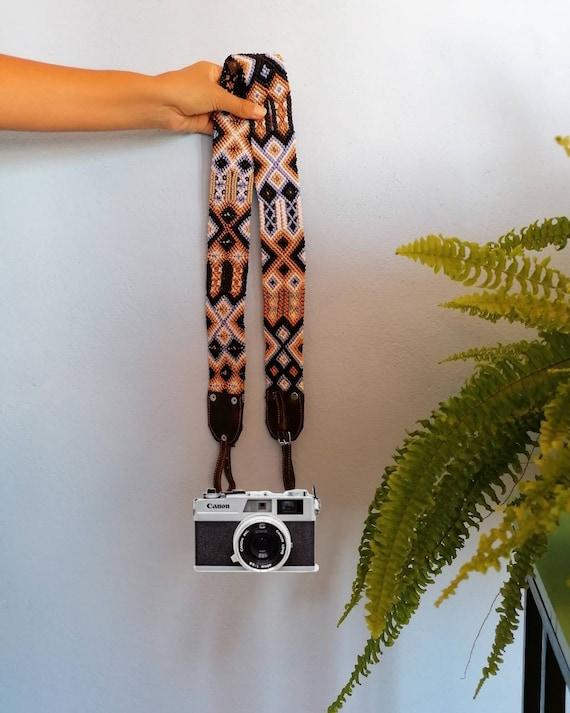 Leather camera strap / camera strap geometric leather *boho style* blue-beige
