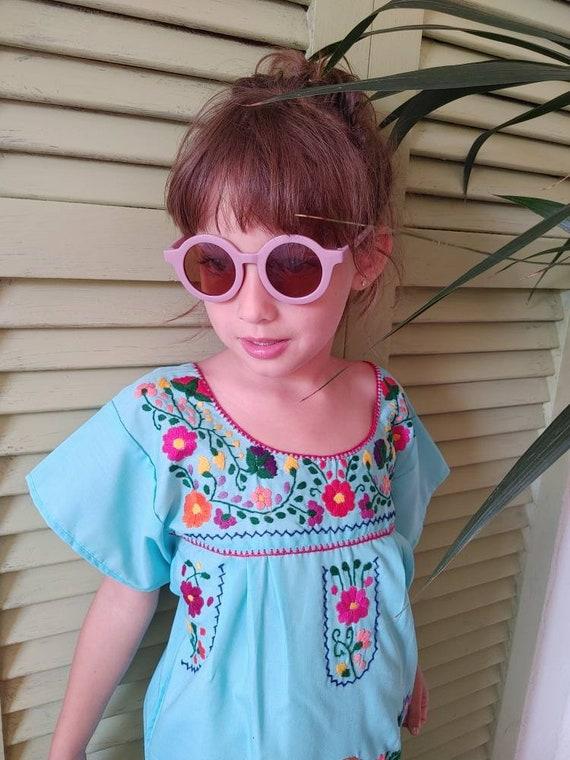 Mexican girl dress * CHILAC * Red dress size 6, hand embroidered dress, summer dress, vintage dress, handmade dress, birthday dress