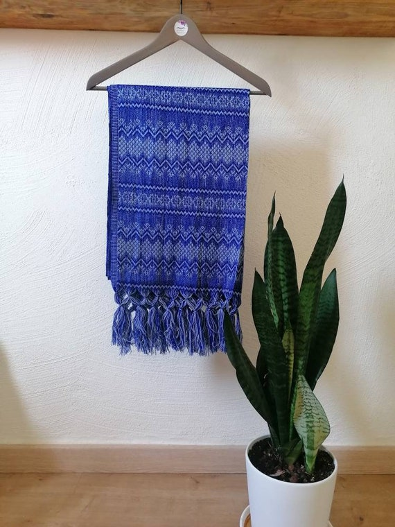 Scarf *Rebozo* chal pashmina Boho ethnic. Blueon/grey male-woman