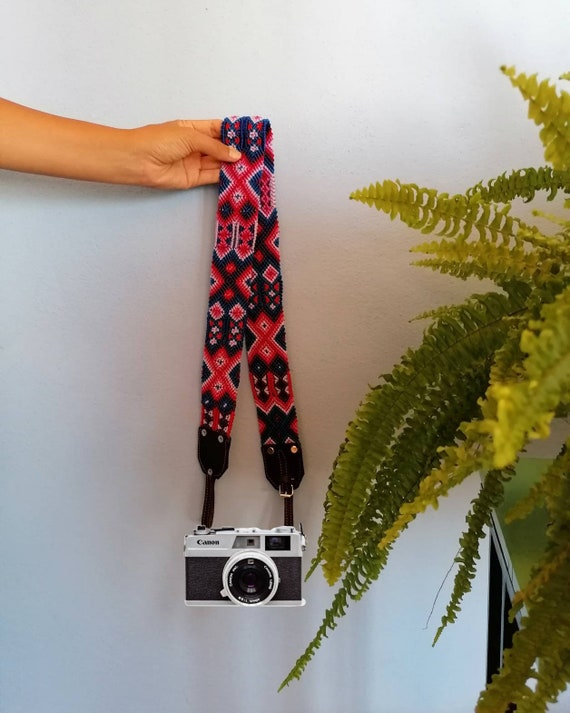 Leather camera strap / camera strap geometric leather *boho style* Blue-Red