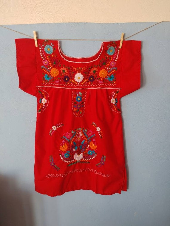 Mexican dress * CHILAC * red, size S-M, hand embroidery, bohemian style, vintage Mexican dress, spring-summer, flower beach dress