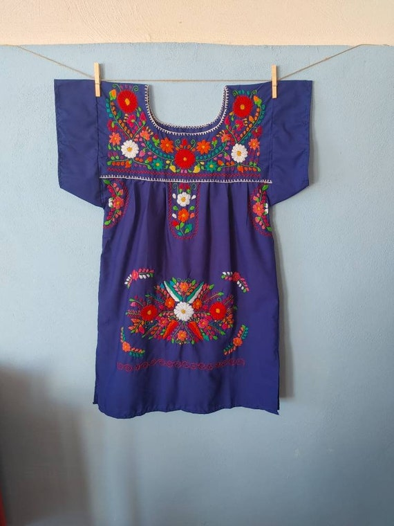 Mexican dress * CHILAC * blue, size S, hand embroidery, bohemian style, vintage Mexican dress, spring-summer, flower beach dress