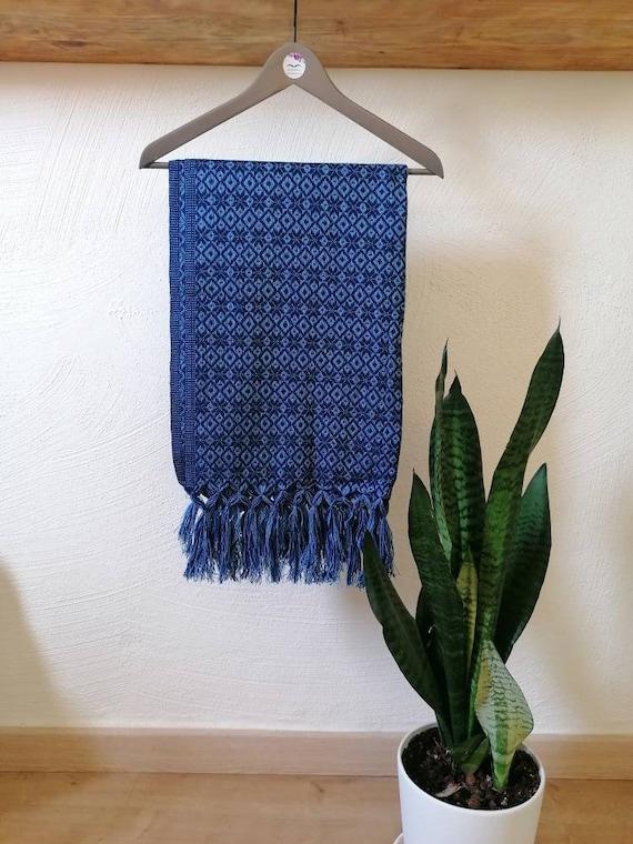 Scarf *Rebozo* chal pashmina Boho ethnic. Oil blue/grey blue man-woman
