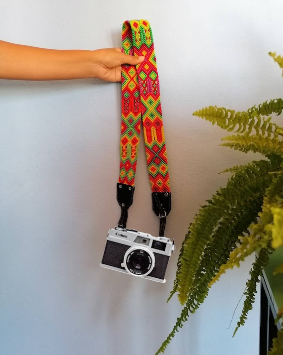 Leather camera strap / camera strap geometric leather *boho style* pink-green fluor