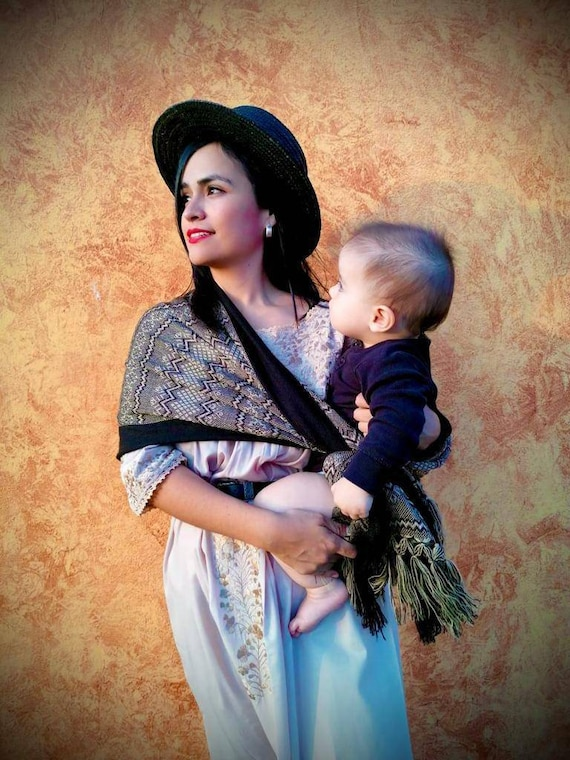 Scarf *Rebozo* fular baby carrier . Black/brown/beige male-woman ethnic pashmina Boho