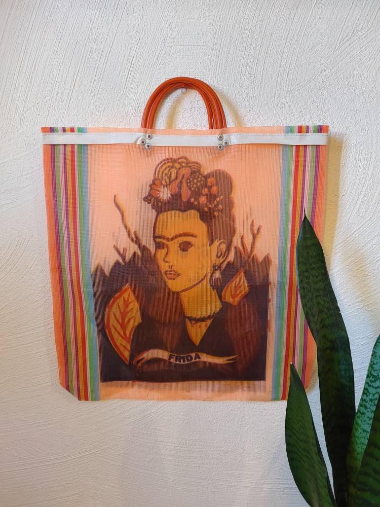 Large Blue Heavy Duty Reusable Grocery Market Shopping Bag Handmade in Oaxaca Frida Kahlo de Rivera Bolsa de Mercado Mexico