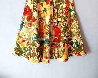 Vintage Regro pin-up skirt *FRIDA KAHLO Y SELVA*  falda circular pin-up retro vintage años 50's, algodón. mexican bohemian artist, botanic
