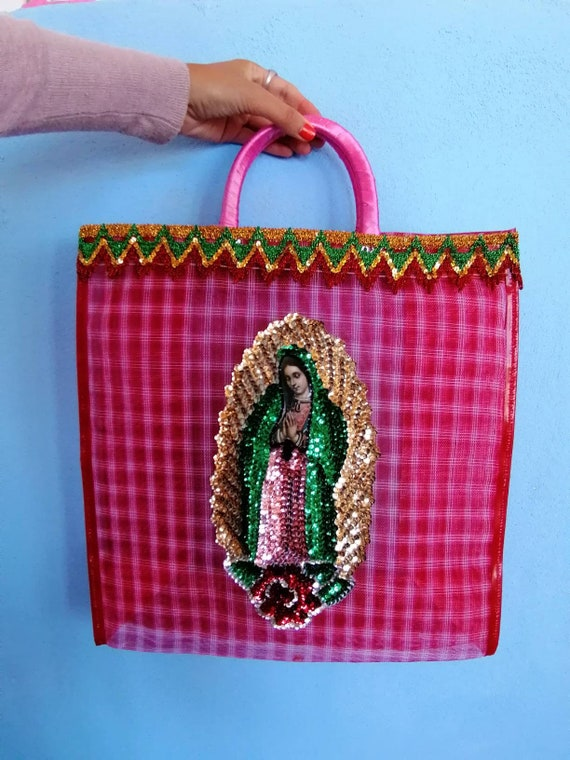 Bag shopper / market / beach * VIRGEN DE GUADALUPE * flowers / paintings
