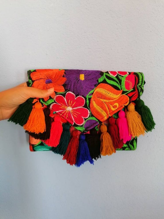 Clutch bag *embroidered and poms poms* multicolored flowers
