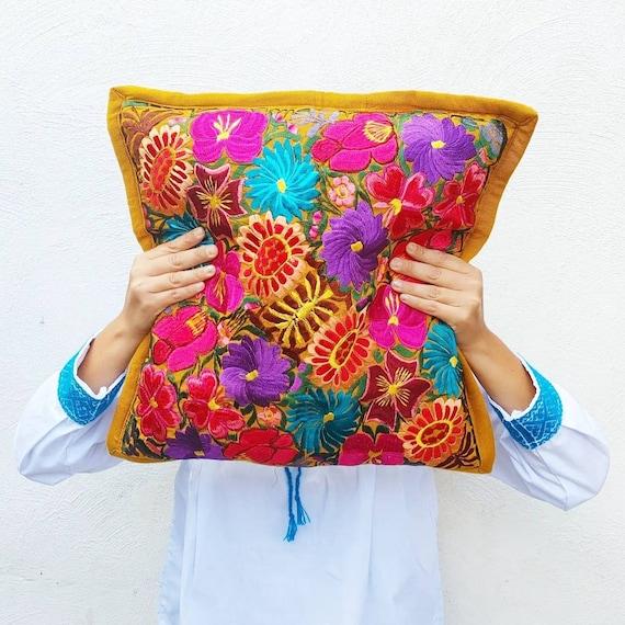 cushion cover mustard *SAN CRISTOBAL* decorative, bohemian style, embroidered flowers, handmade cushion, Mexican decoration, Mexican cushion