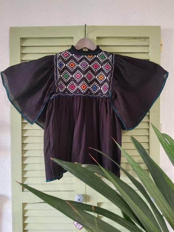 Handmade tunic blouse * SAN ANDRÉS * black, size S-M, bat sleeve, handmade, cotton, bohemian style, vintage Mexican blouse,