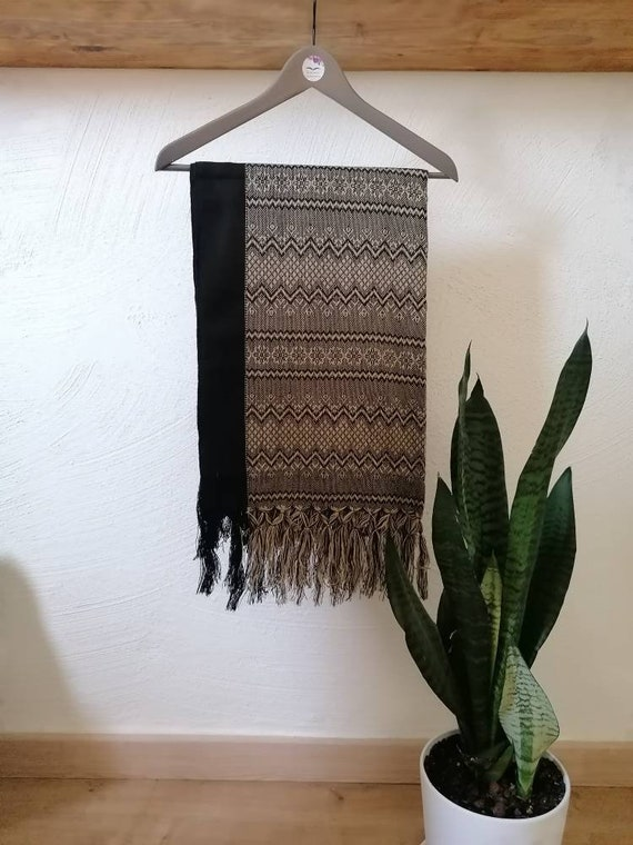 Scarf *Rebozo* chal pashmina Boho ethnic. Black/brown/beige man-woman