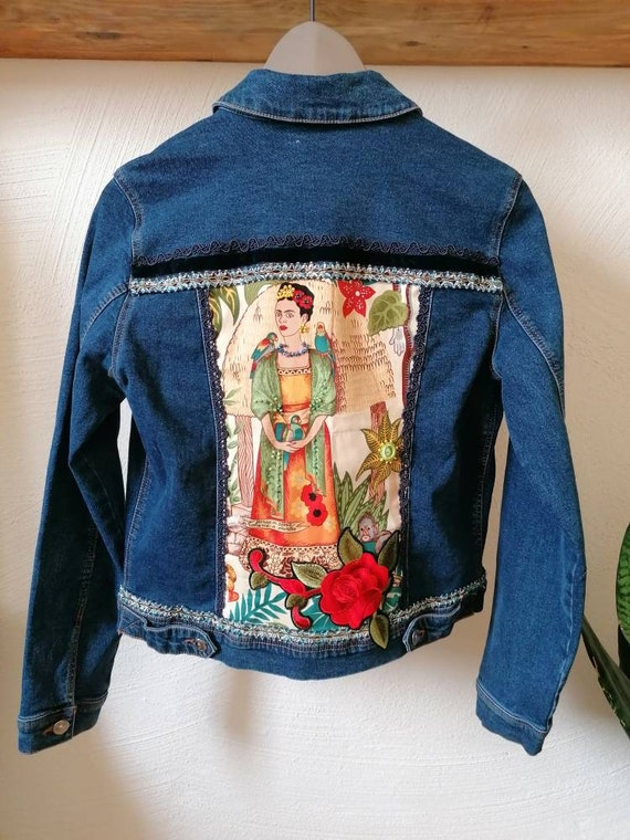 Jeans jacket *FRIDA KAHLO* chaqueta Vaquera, chamarra de mezclilla bohemia, blue denim, jacket vintage, Alexander Henry fabric, tela Frida