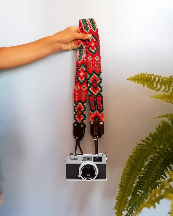 Leather camera strap / camera strap geometric leather *boho style* green-red