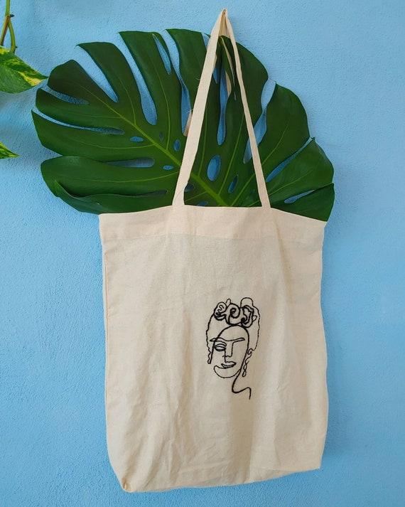 Tote bag * VIVA LA VIDA * hand embroidered, reusable bag, organic cotton bag, Frida Kahlo, Mexican embroidery, shopping bag