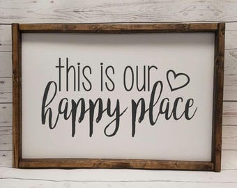 This is our Happy Place, Farmhouse style, framed sign, fixer upper style, handpainted, thankful home decor, scrabble, 2 sizes available